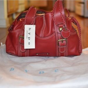 Red large genuine leather satchel by Hype